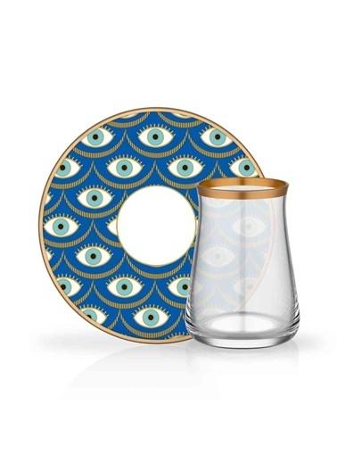 Glore Glore Nazende 6'Lı Porselen Çay Takımı Seti Mavi - Mat Yaldız Renkli